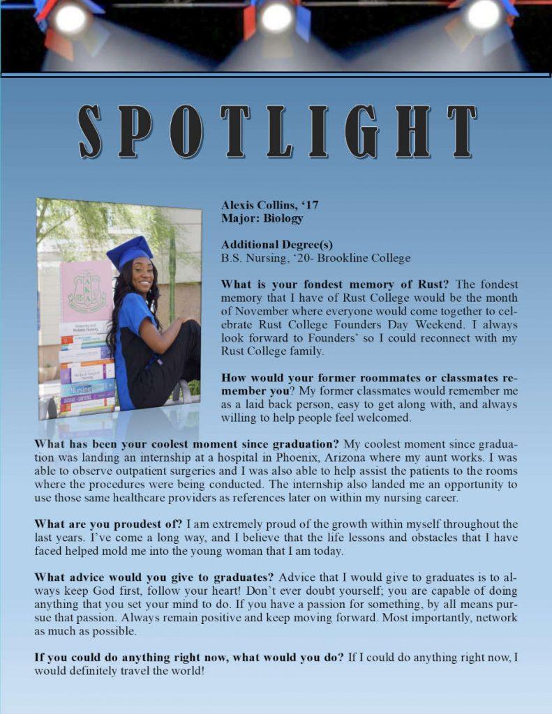 Rust Alumni Alexis Collins Profile