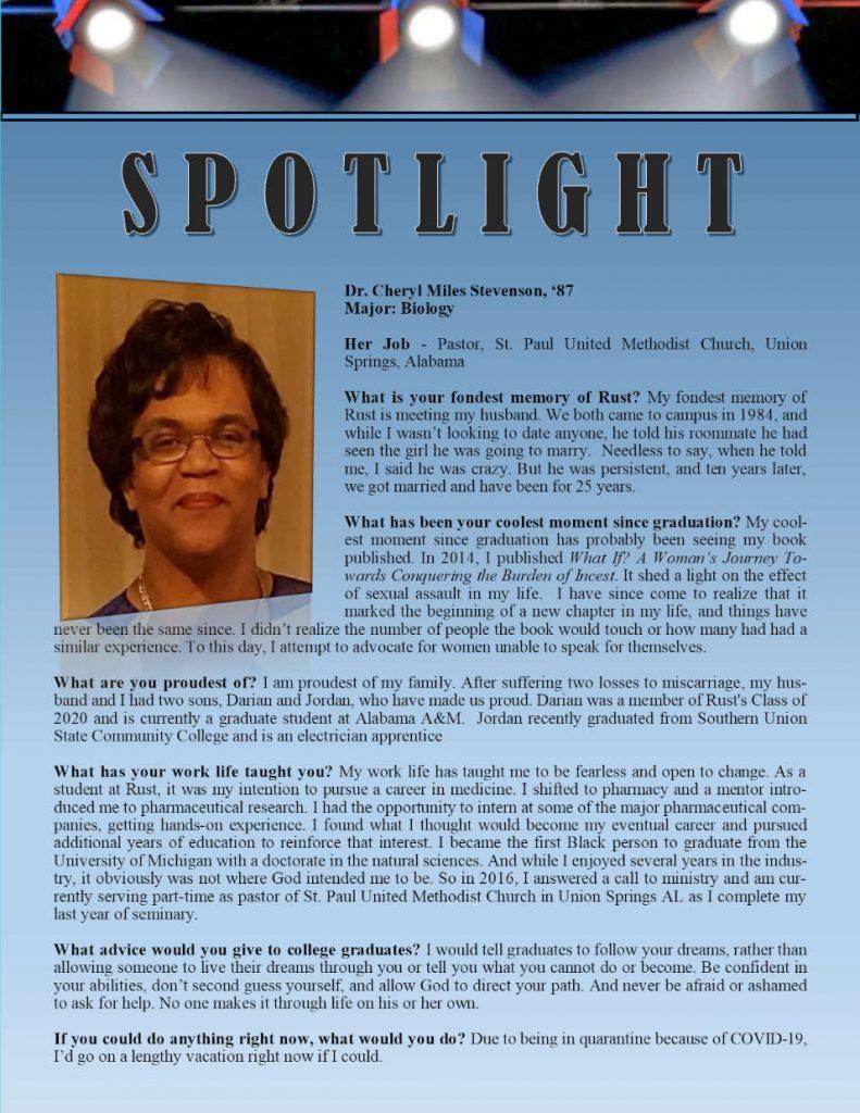 Rust Alumni Cheryl Stevenson Profile