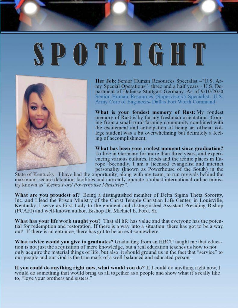 Rust Alumni Keisha Ford Profile