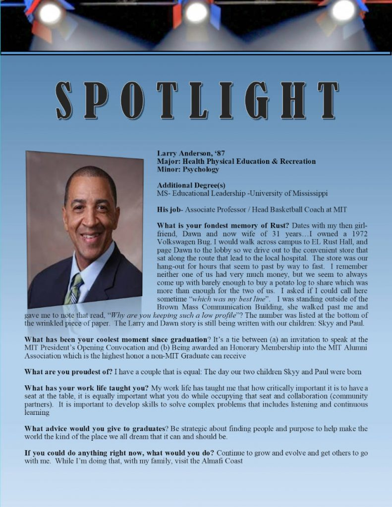 Rust Alumni Larry Anderson Profile