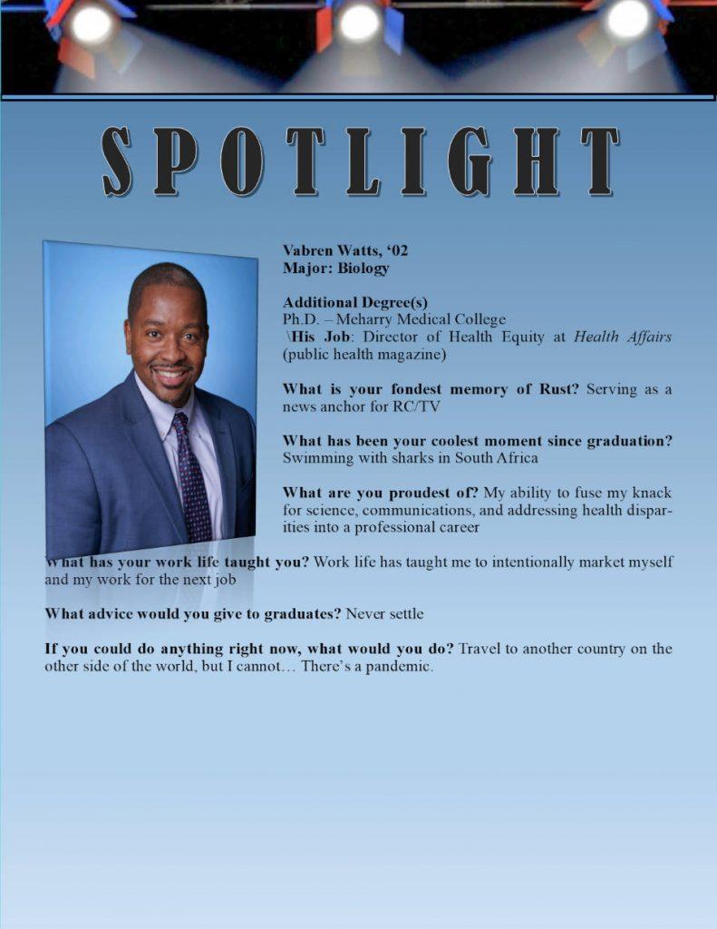 Rust Alumni Vabern Watts Profile