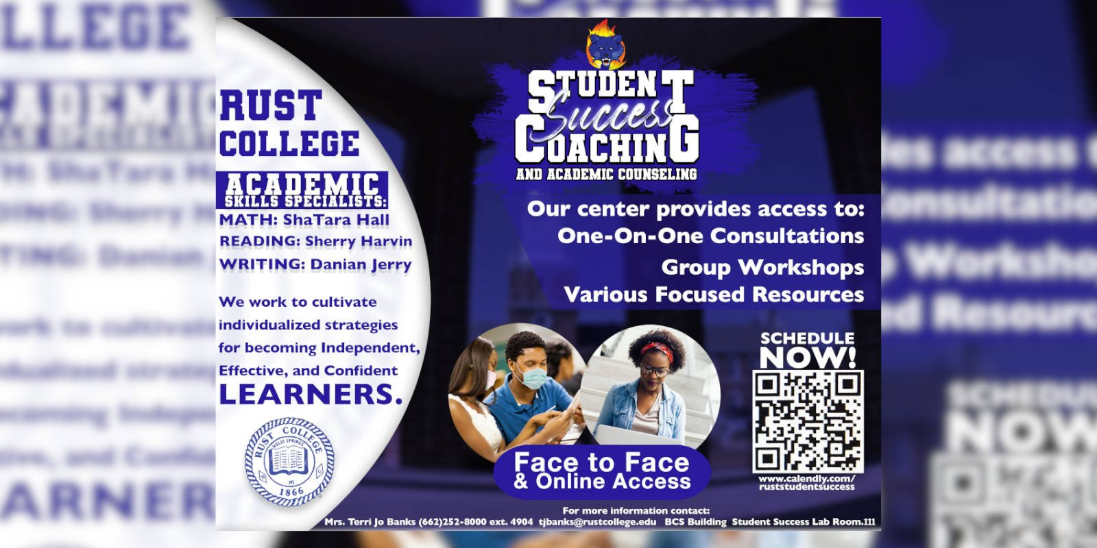 Rust College Student Success Coaching Flyer